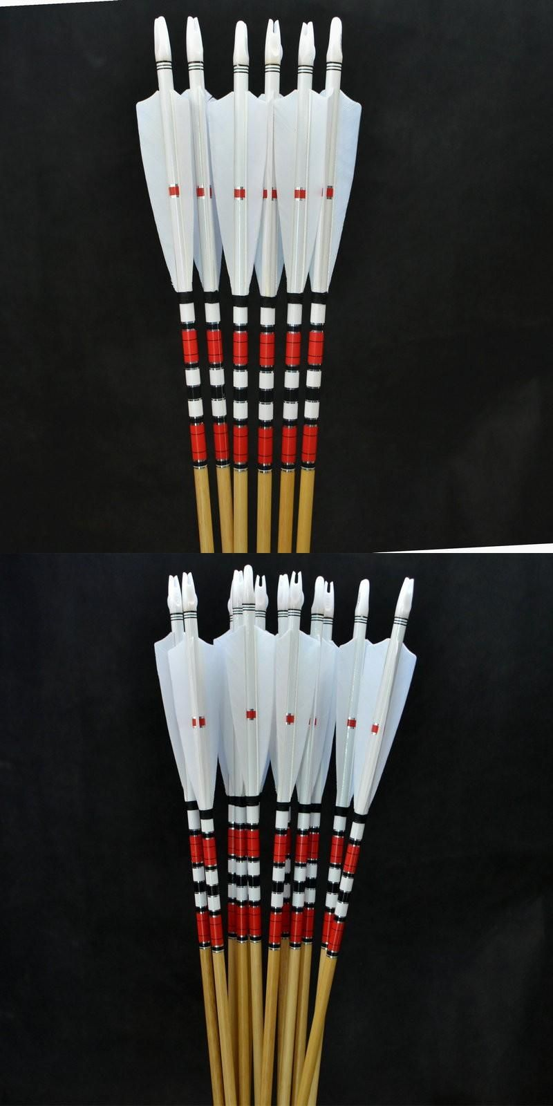 6pcs 78cm Traditional Wooden Arrows Hunting White Feathers 50~70lbs Hunt Archery