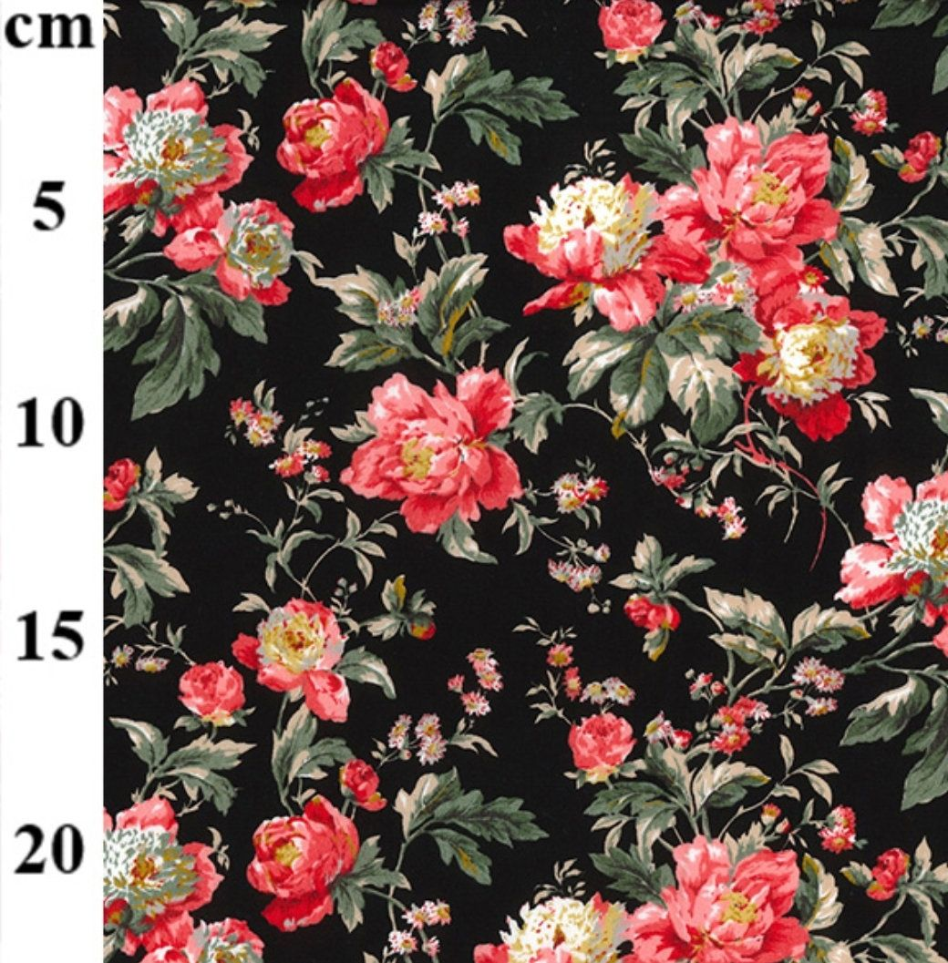 50cm x 150cm cotton white pink floral pattern floral cotton fabric fabric by the metre