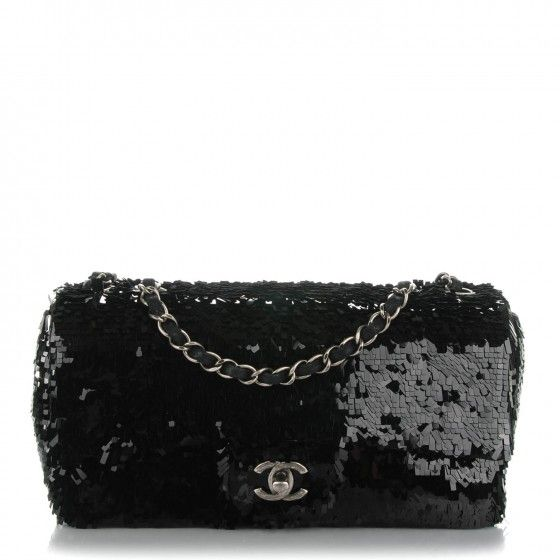 f39d4372738e This is an authentic CHANEL Sequin Embroidered Medium Single Flap in Black.  This ultra-chic shoulder bag is crafted of black rectangular sequins.