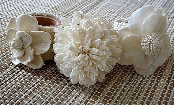 Napkin Rings Set Of 6 Made With Burlap And Sola Flowers