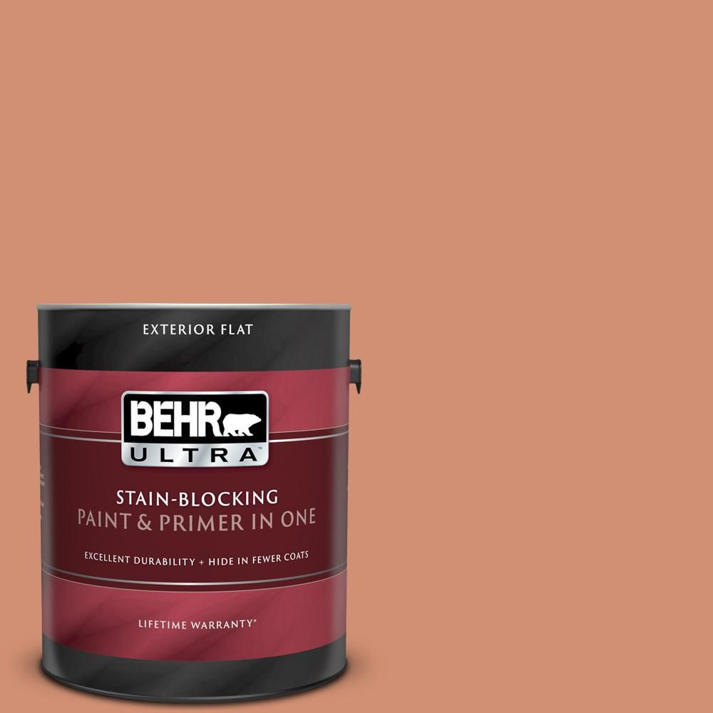 Behr Ultra 1 Gal M200 5 Terra Cotta Clay Flat Exterior Paint And Primer In One 485401 The Home Depot Behr Ultra Interior Paint Behr Premium Plus Ultra