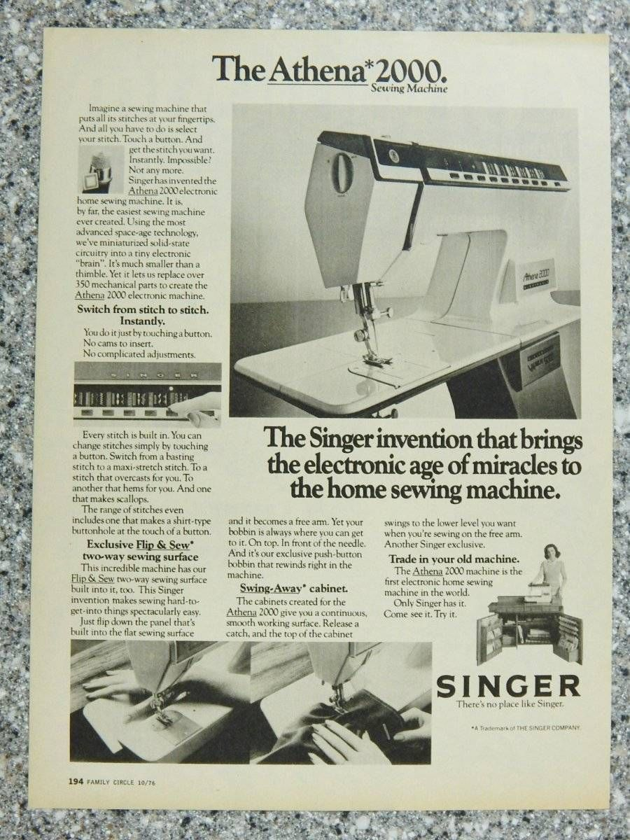 1976 Singer Sewing Machine Athena 2000 - Vintage Magazine Ad Page | eBay