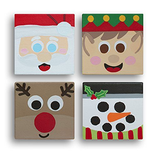 Amazon Com Christmas Blockheads Canvas Wrapped Frame Cute Colorful Decoration Posters Paintings On