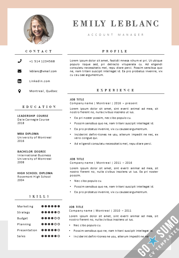 New CV Template Montreal  GoSumo CV Template - Creative cv template, Cv template, Cv design template, Creative cv, Templates, Curriculum vitae design - Get your CV noticed  Give you job application a boost with a new colorful creative word CV template  Fully editable files  Download now
