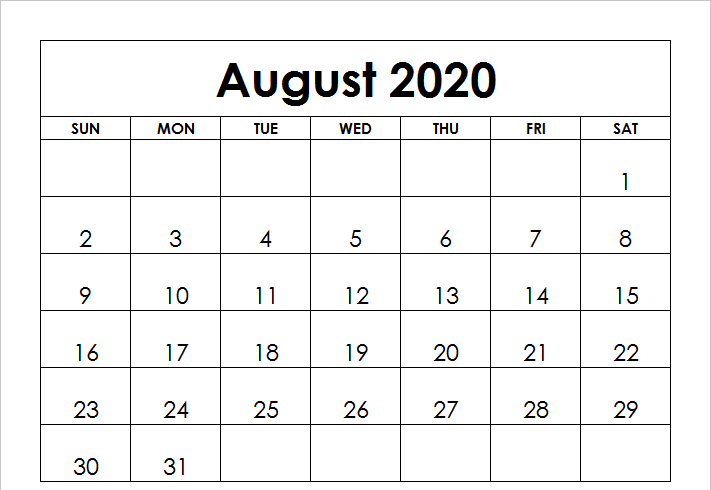 month of august 2020