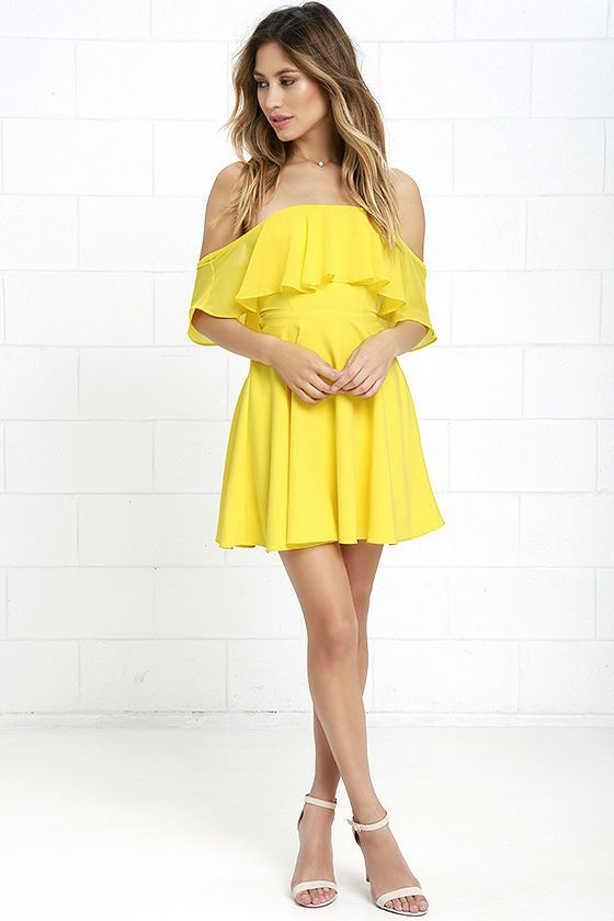 e8535c22bd Flutter On By Yellow Off-the-Shoulder Skater Dress