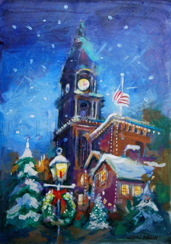 Christmas Day In Philadelphia 2021 Philadelphia Christmas Title Philly Winter Christmas Etsy In 2021 Christmas Paintings Philadelphia Art Painting