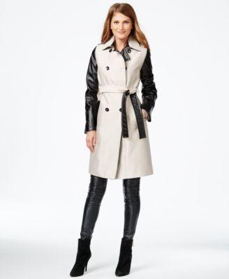 Calvin Klein Mixed-Media Trench Coat