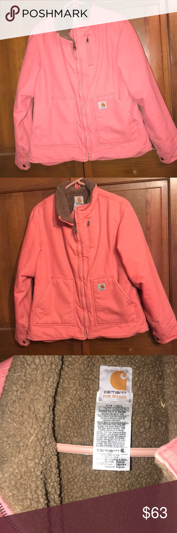 Women's carhartt Coat Size medium. Vguc. Inside is fleece. Fits true to size. No hood. Second picture shows color best. Carhartt Jackets & Coats Jean Jackets #carharttwomen