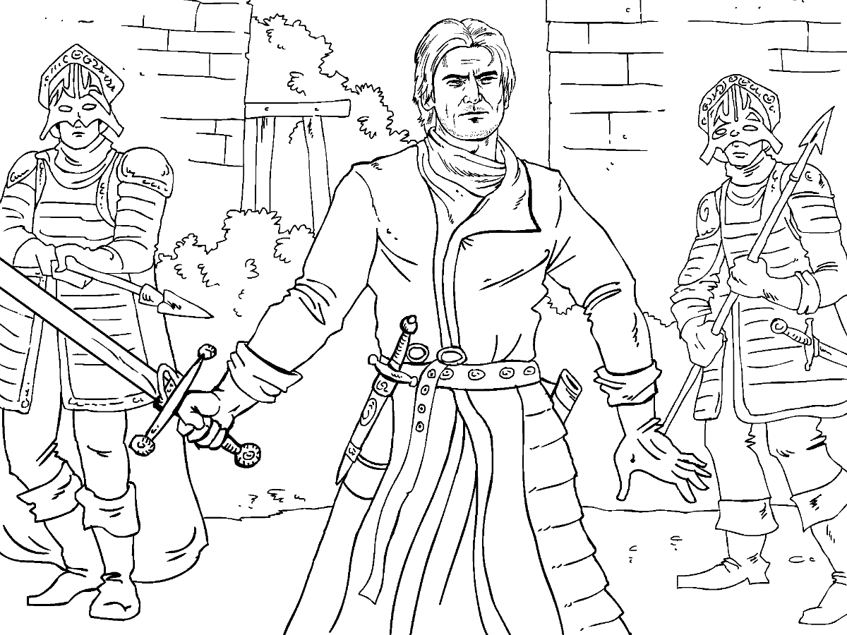 game of thrones colouring in page jamie - Colouring In Game