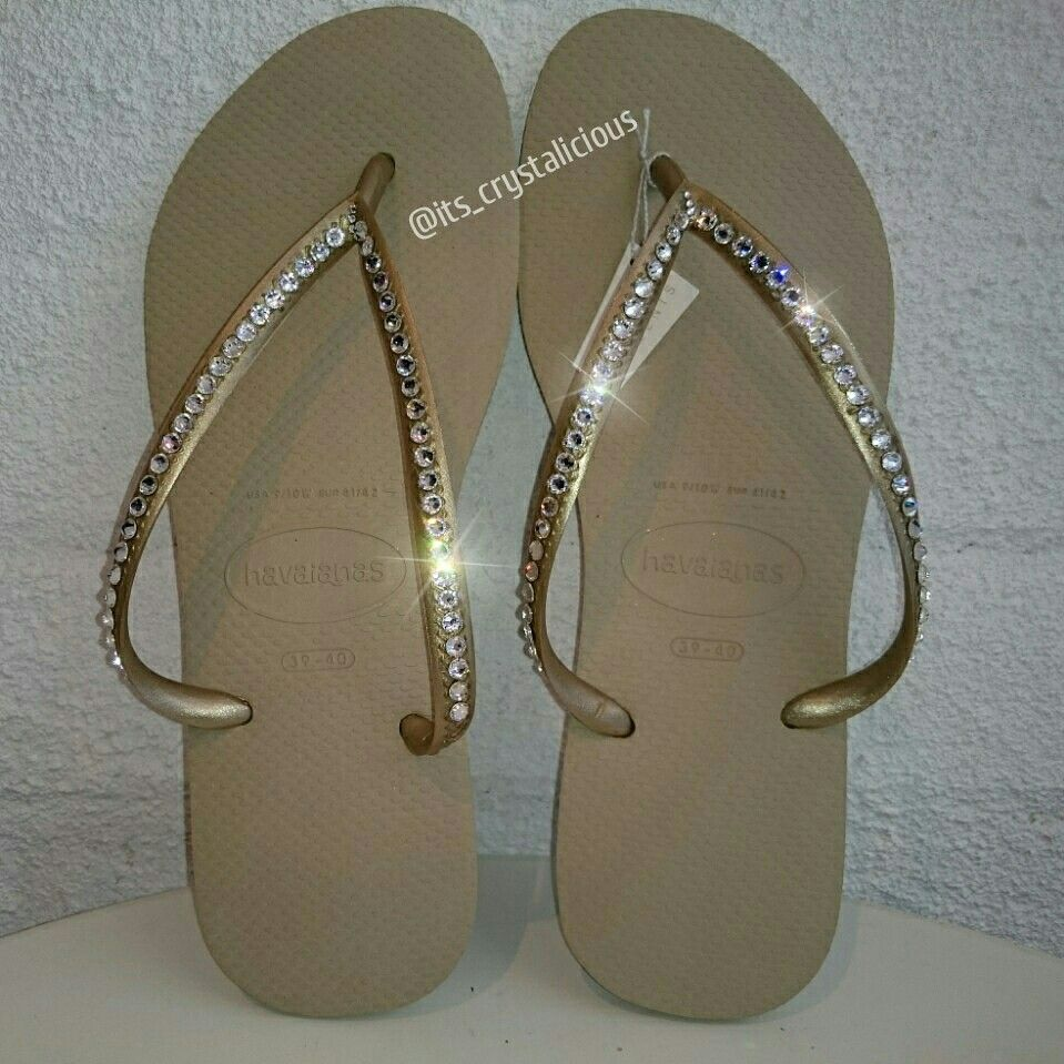 01f824a421fc One Row Havaianas embellished with Genuine Crystals from SWAROVSKI®  www.ItsCrystalicious.etsy.