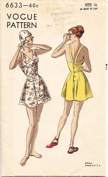 1940s Vogue 6633 Flared Skirt Bathing Suit Pattern