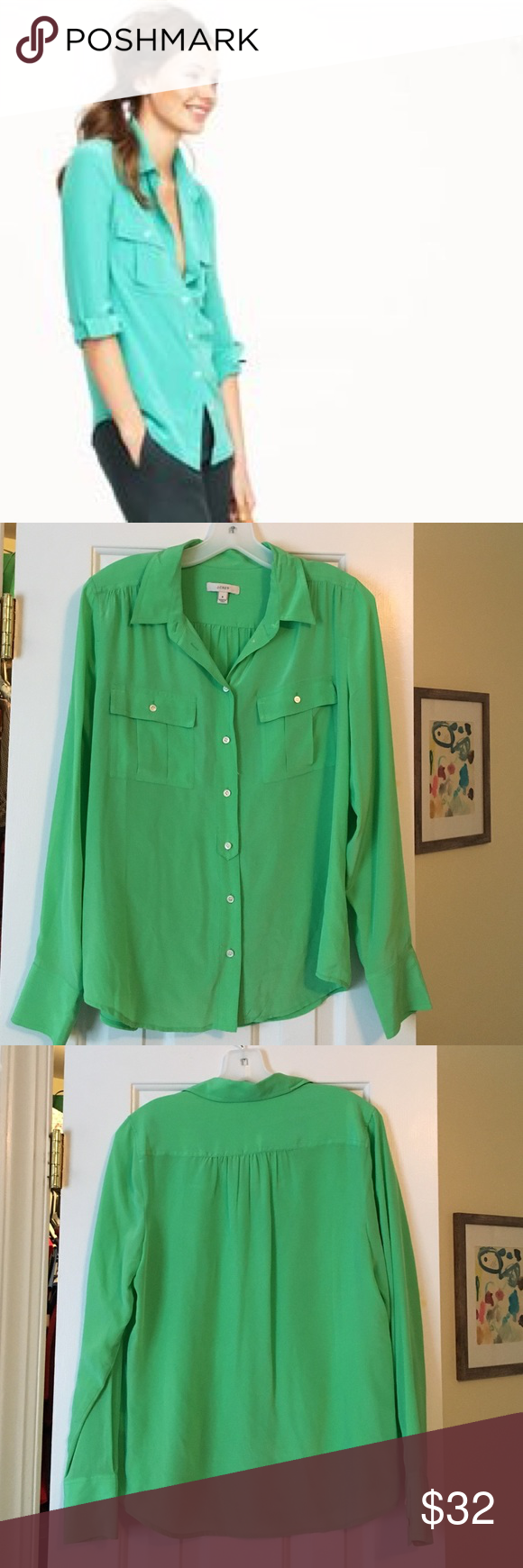 01967f06 J.Crew green silk blouse Beautiful emerald green silk blouse. 100% silk,  button-down collared shirt, excellent used condition. J. Crew Tops Button  Down ...