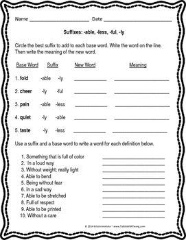 Free Printable Prefix Amp Suffix Worksheets
