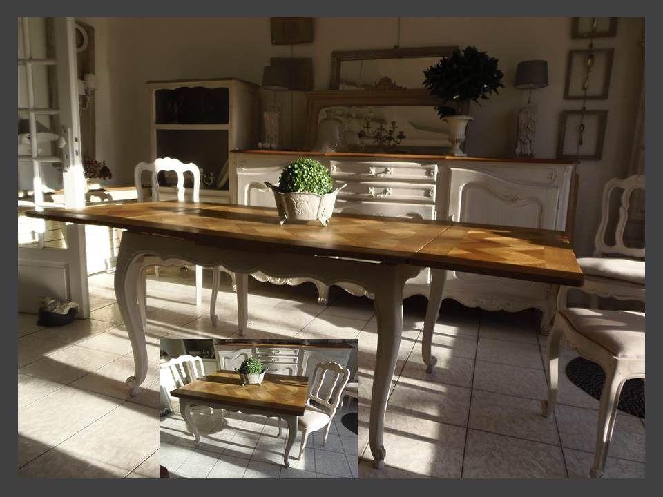 table en ch ne avec 2 rallonges l 39 italienne patin e gris. Black Bedroom Furniture Sets. Home Design Ideas