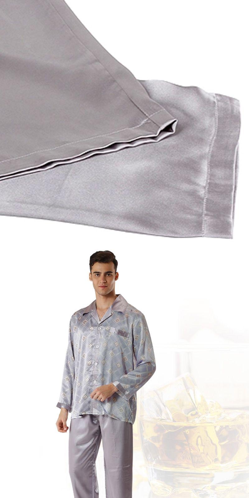 Mens Silk Satin Pajamas Silk Chinese Pajamas for Men Silk Sleepwear Two  Pieces bb848788c