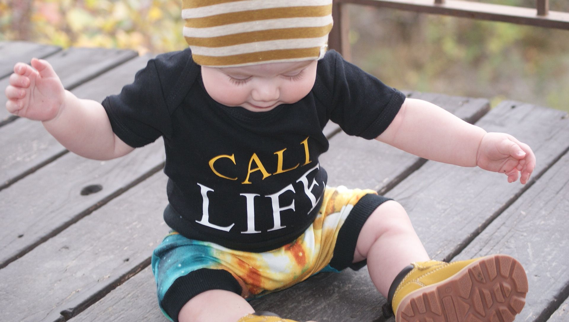 "Beanie by Shop Lulu and Roo | onesie ""Cali Life"" by once upon a baby 
