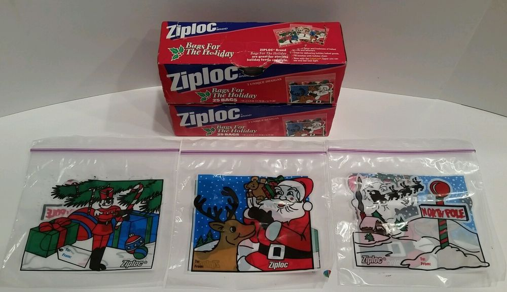 44 Ziploc Christmas Holiday Sandwich Size Bags From 1998 Santa North Pole Gifts #Ziploc