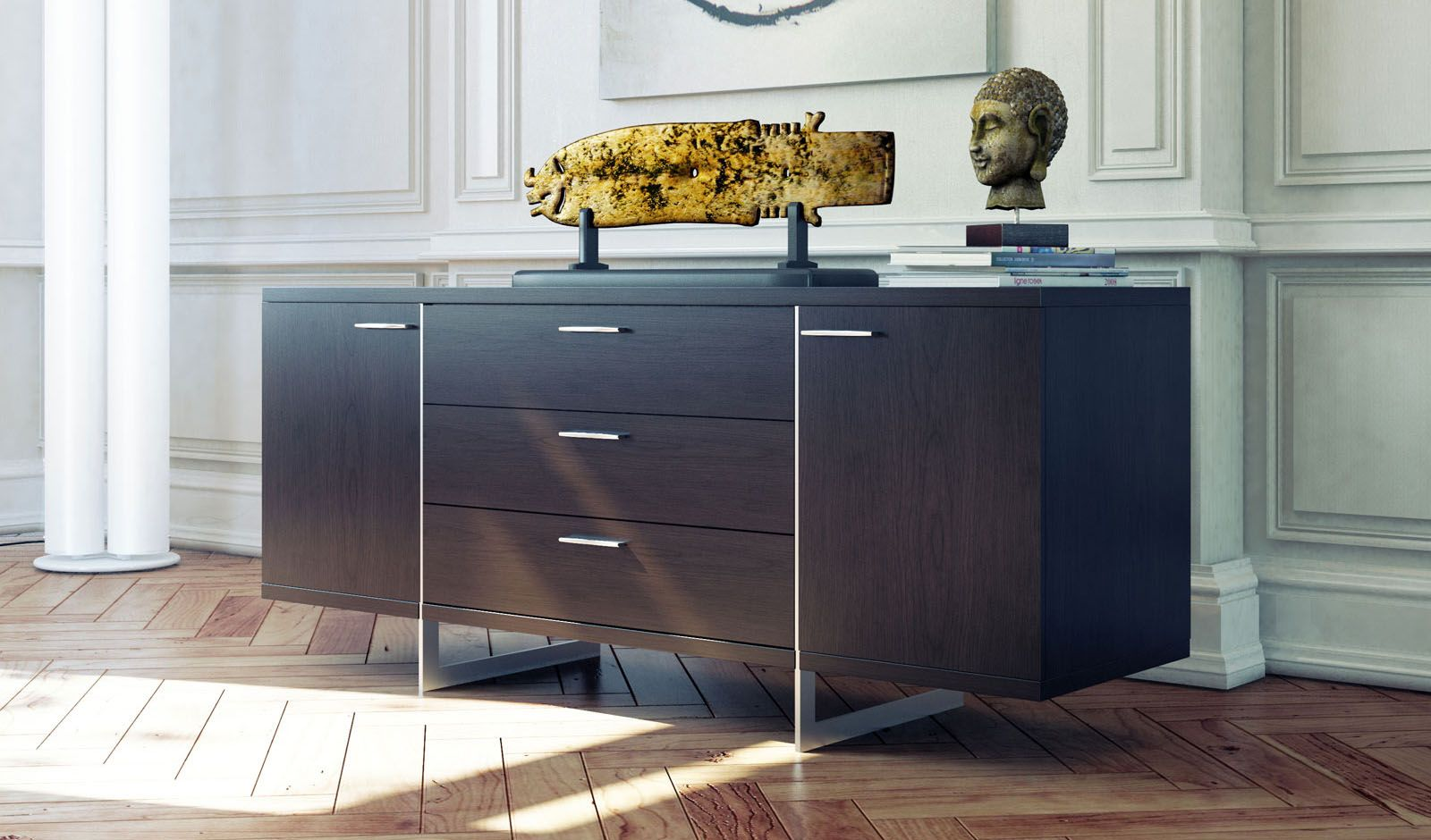 Contemporary Sideboard Buffet With Three Storage Drawers