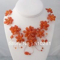 FREE SHIPPING Floating Orange Flower Garland .925 Silver Necklace