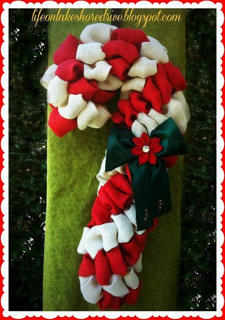 Burlap Candy Cane Wreath Tutorial Life On Lakeshore Drive Candy Cane Wreath Tutorial Candy Cane Wreath Wreath Tutorial