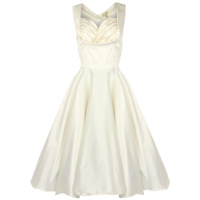 **COMING SOON - DUE IN STOCK END OF JANUARY 2015, PRE-ORDER NOW** A Stunning and very elegant 50's vintage stlye swing dress with full skirt and crossover ruched bust panel - perfect for weddings, bride and bridesmaids, proms, evening wear or any other occasion. Dress Features:  Made from good quality silky satin fabric with a little stretch to it An ideal dress for Proms, Weddings / Bridesmaids or other special occasions Flared skirt section Flattering sweetheart neckline Crossover ruched…