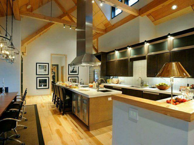 107 idées de îlot central de cuisine fonctionnel et convivial Engine - pose d une hotte decorative