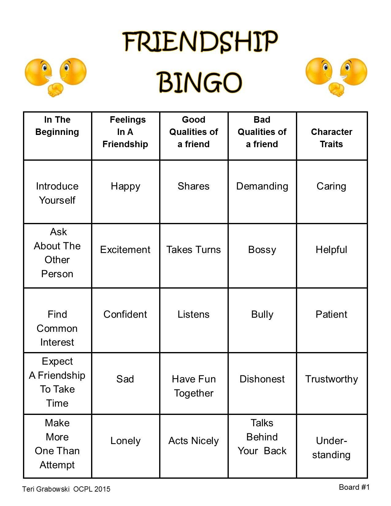 Friendship Bingo Card 1