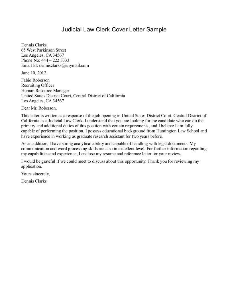sample cover letter for law clerk position
