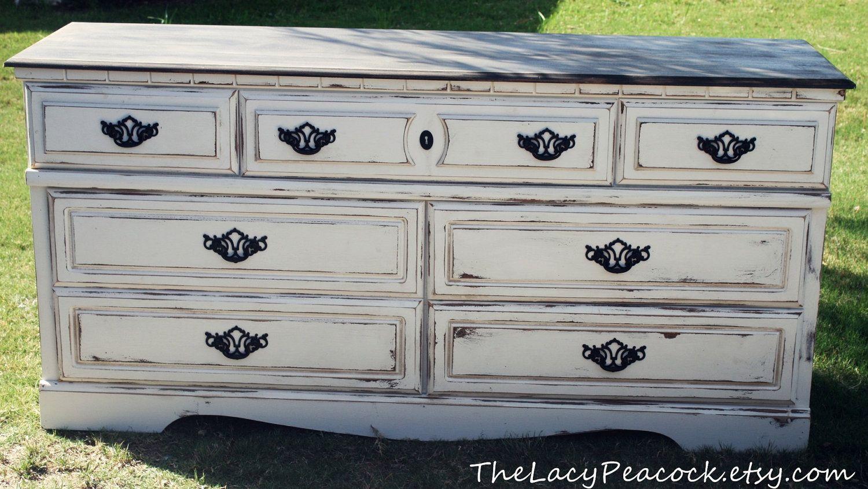 Best Black And White Distressed Dresser Dresser Makeover Pinterest White Distressed Dresser 640 x 480