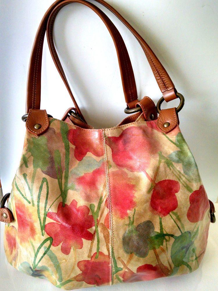 Italian Leather Handbag Large Hobo Tan Fl Designer Maurizio Taiuti Euc Clean Mauriziotaiuti