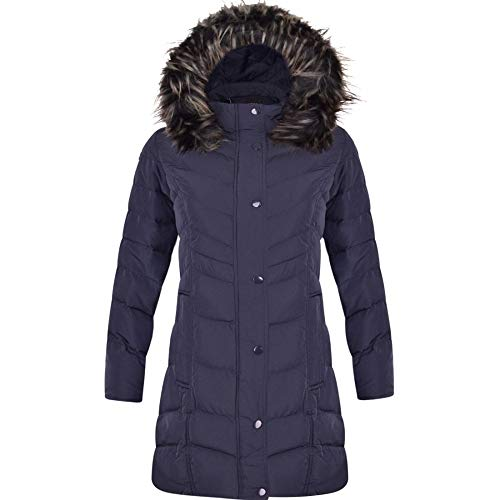 Spindle Womens Long Chevron Quilted Padded Winter Coat Jacket Fur Parka Zip Pockets