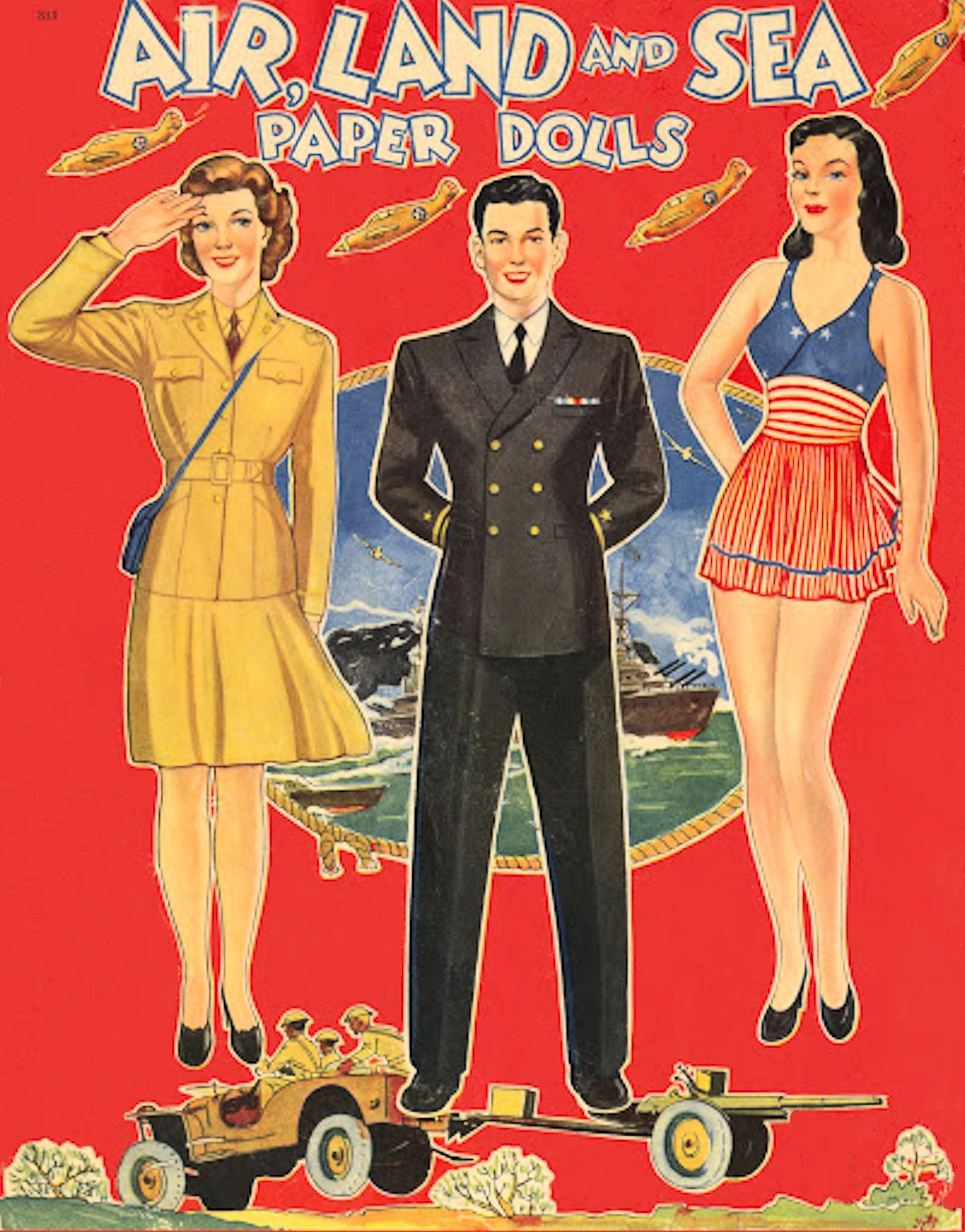Air Land and Sea Paper Doll Book 1940, Toy Dolls Playset