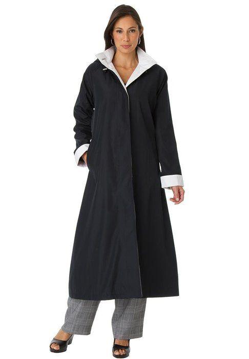 Jessica London Women s Plus Size Long Hooded Raincoat Black White 5bbc68371