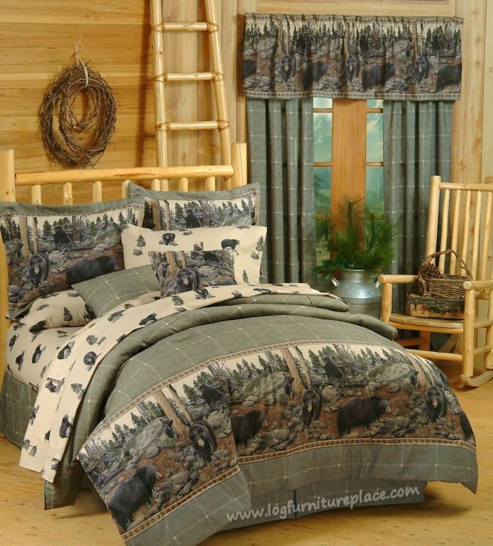 Country Western Quilt Set King Size Bear Elk Log Cabin Hunting Lodge Comforter