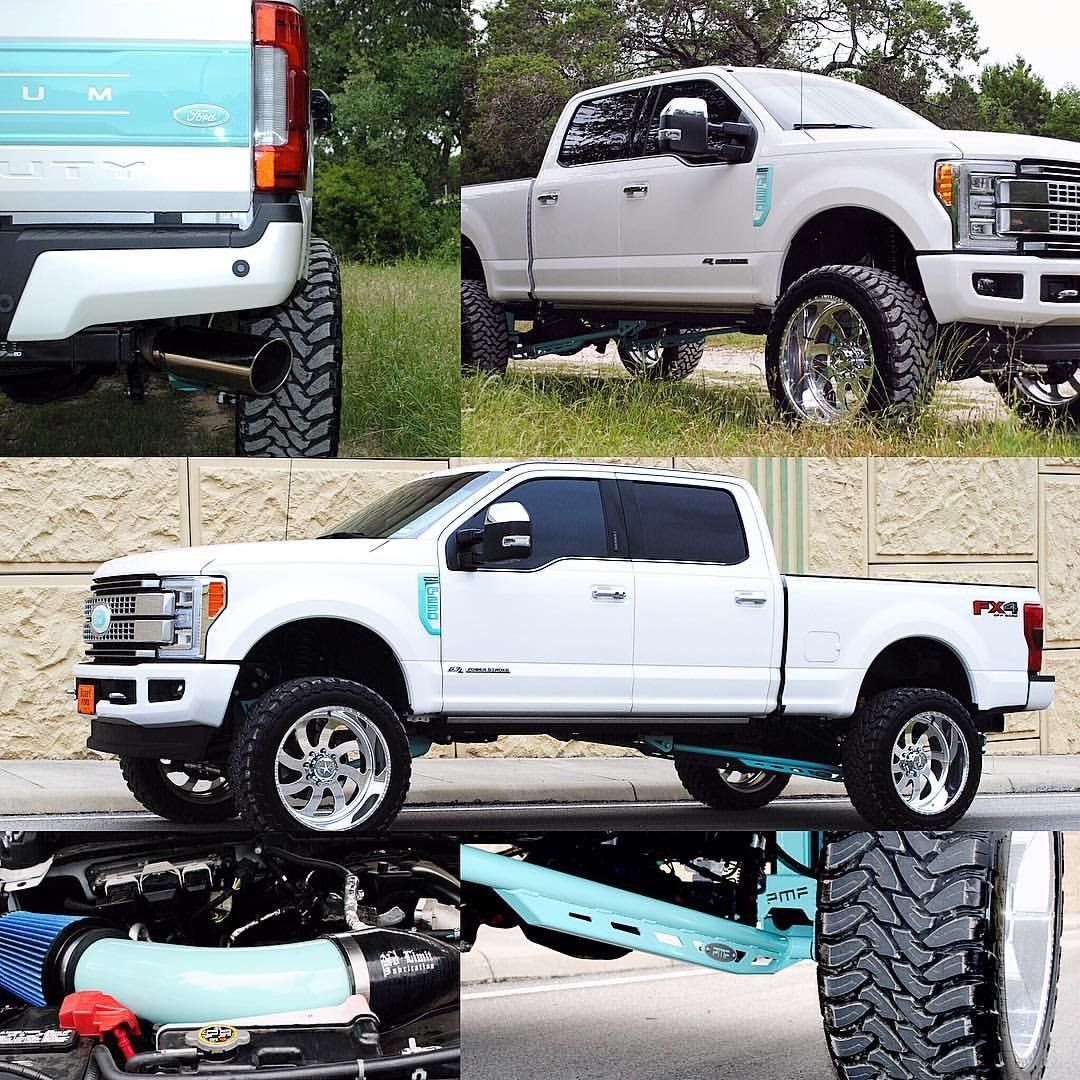 """2017 Ford F250 Tiffany Blue. PMF Suspension 5.5"""" lifted"""