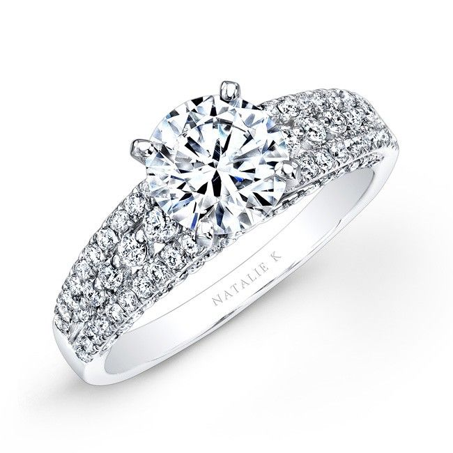 NK25806-W - 14k White Gold Prong Bezel Set White Diamond Engagement Ring #Renaissance #ring #diamonds
