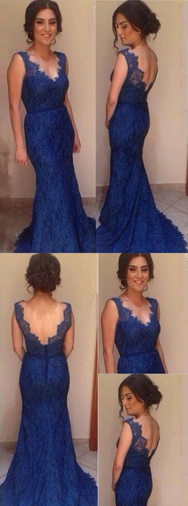 Mermaid vneck sweep train royal blue backless lace prom dress
