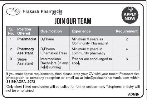 Pharmacist (2), Pharmacy Assistant (4) - Prakash Pharmacia   If you meet below requirements, then...