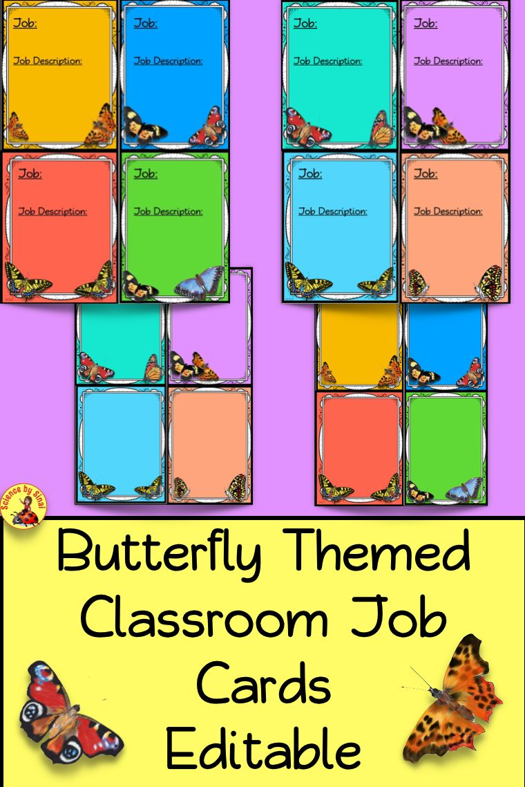 Classroom job cards, station labels, name plates