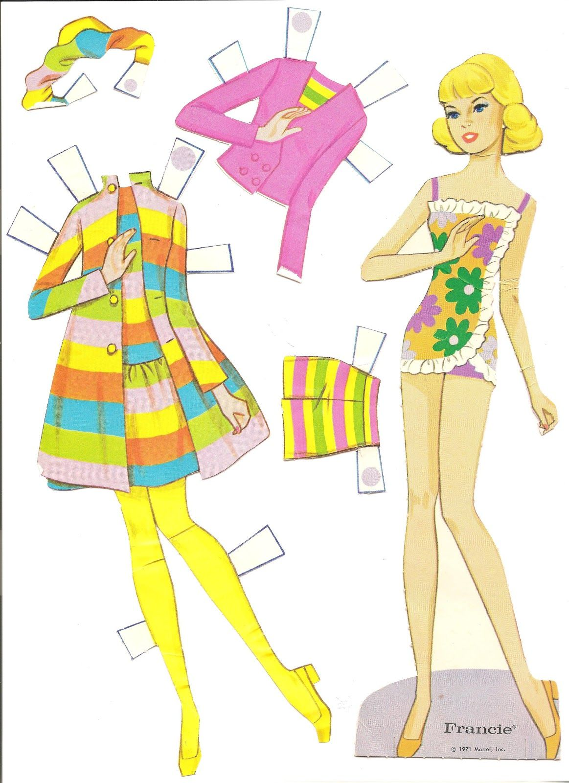 picture about Printable Barbie Paper Dolls called 1971 - -Planet OF BARBIE, 6 paper dolls and their garments. A