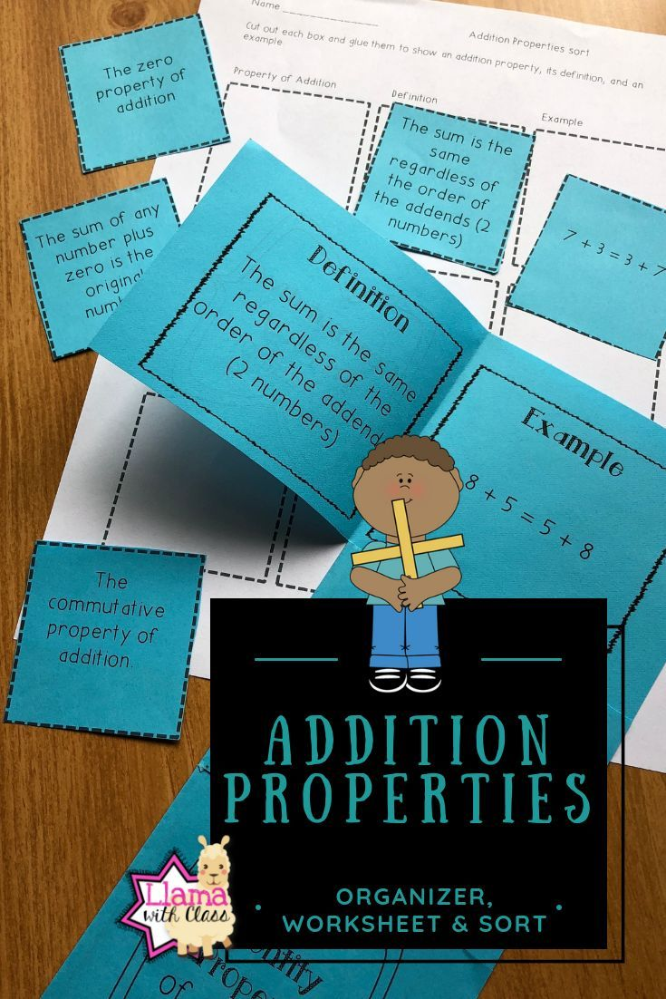 Addition Properties Organizer, Sort, and Worksheet | ***All things ...