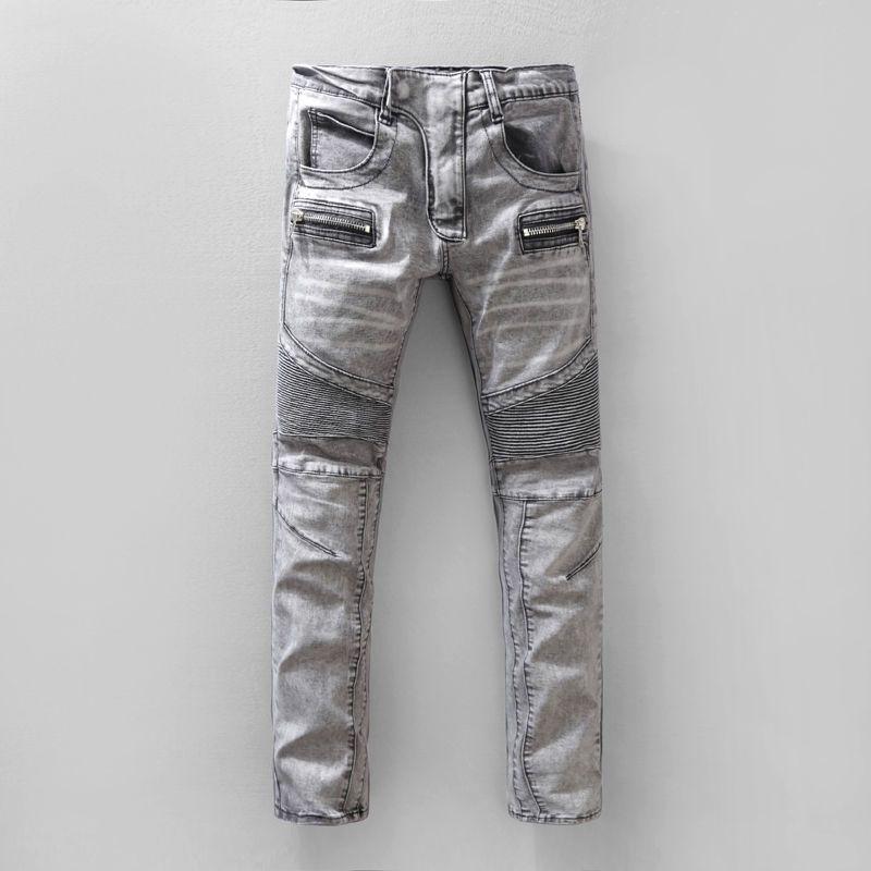 3c636e66 Men Classic Jeans Knee Drape Panel Moto Biker Jeans Size 29-40 HI-Q 544
