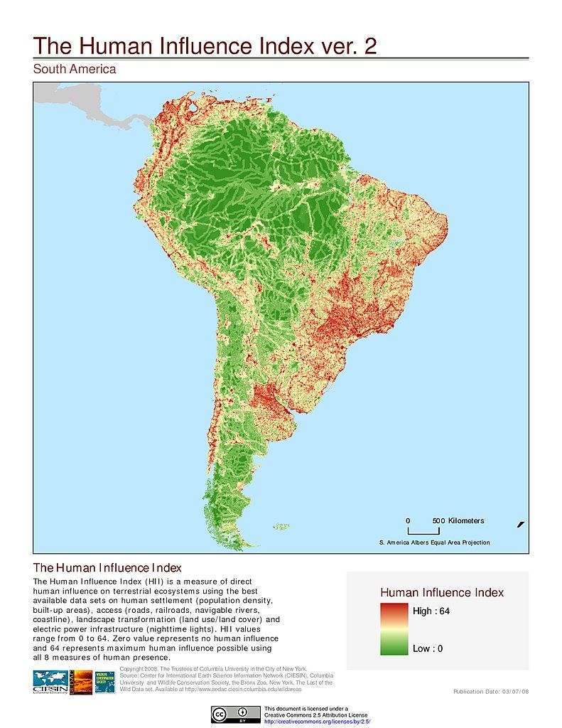 Human Influence Index, South America by CIESIN #map #southamerica