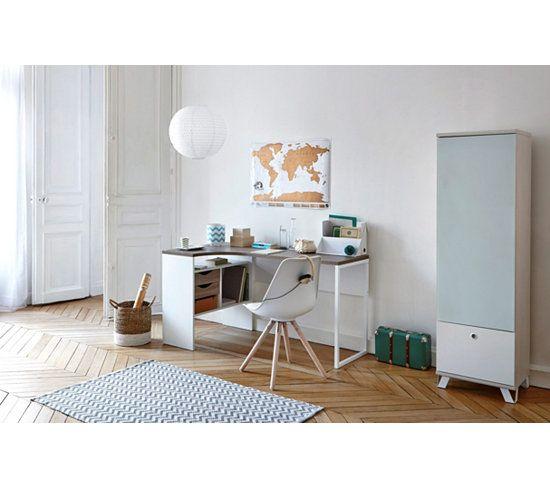 Bureau dangle ALKOR Imitation chne grisblanc Bedrooms
