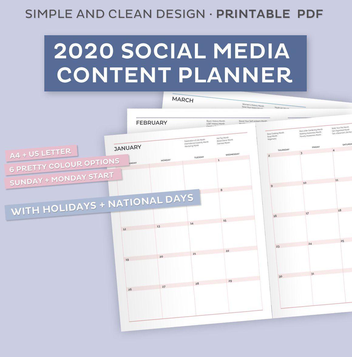 2020 Social Media Content Planner Social Media Content Planner Content Planner Social Media Content