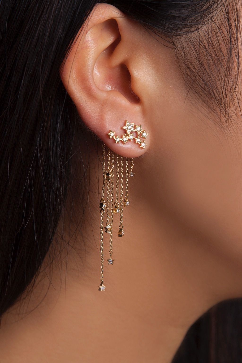 Nose piercing without earring  Rue Gembon Bahia Gold Star Motif Chain Delicate Earjacket  Star