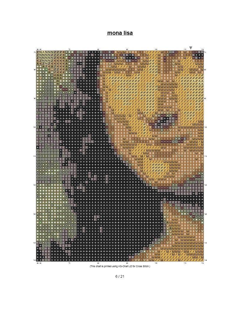 Handmade Mona Lisa Silhouette Counted Cross-Stitch Pattern Needlepoint