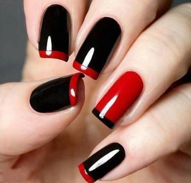 acrylic nail designs red and black cool nail design ideas - Cool Nail Design Ideas