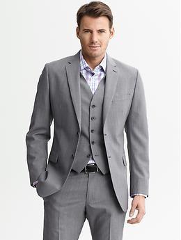 Tailored Grey Plaid Wool Two Button Suit Blazer Banana Republic Prom Suit Jackets Suits Wedding Suits Men